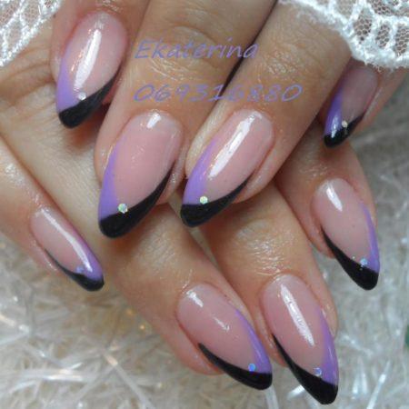 Модный двухцветный маникюр с красивым дизайном ногтей
