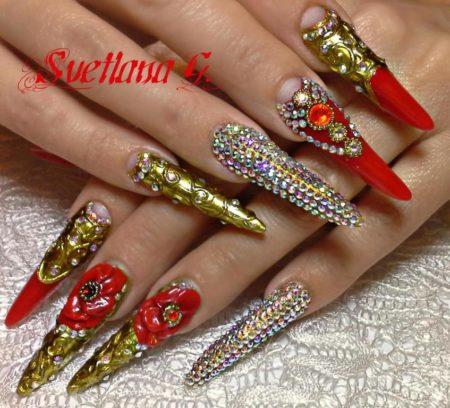 Красный объемный маникюр на острые ногти