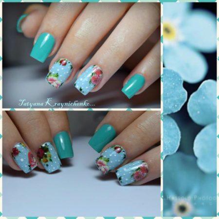 Фото ногтей синего маникюра