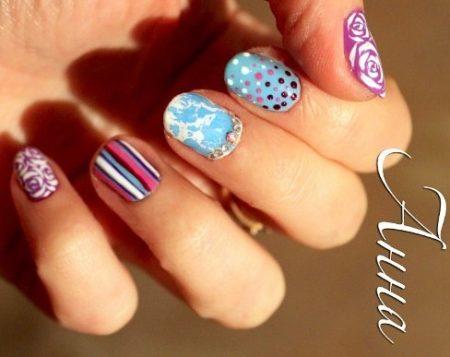 Маникюр весна -лето на короткие ногти с дизайном.