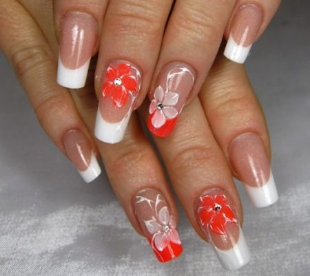 Дизайн ногтей фото новинок нейл - арта френч с цветами