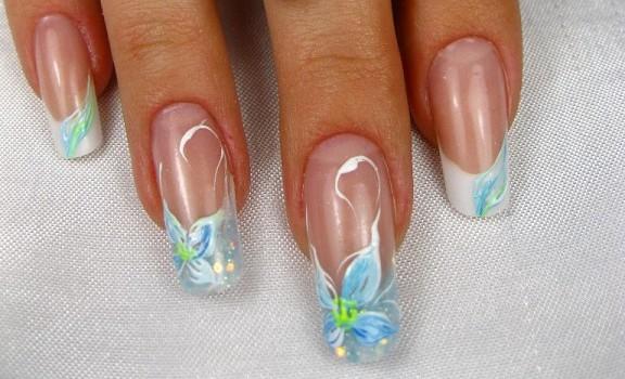 дизайн ногтей фото цветной френч с рисунком