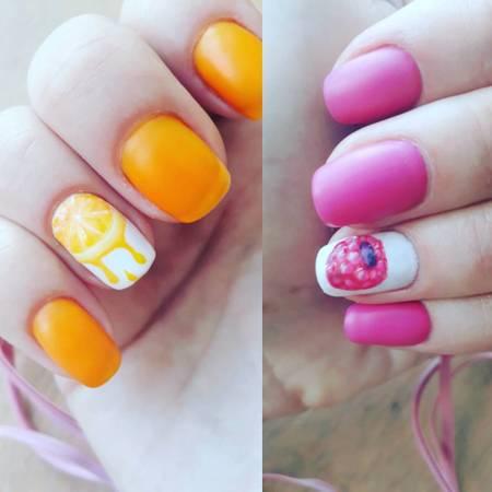 летнем матовом дизайне ногтей