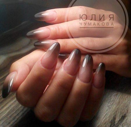 Дизайн ногтей аэрогафия нежный розовый и черный