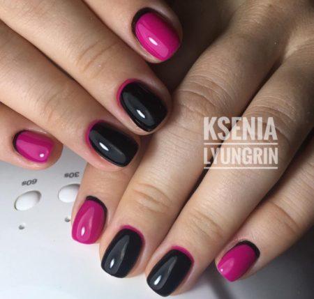 обратный френч розовый и черный