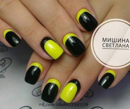 Желто-черный обратный френч