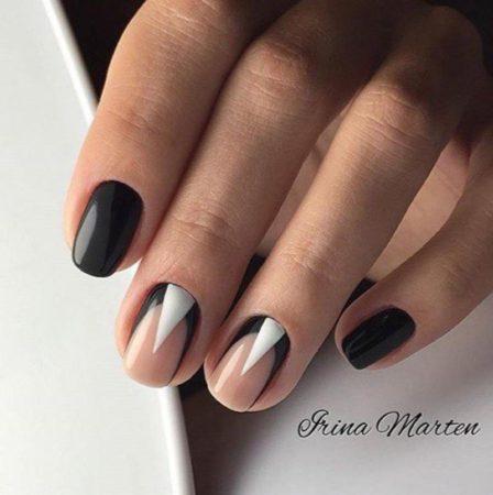 Антифренч в сочетании с геометрией на ногтях