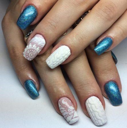 зимний маникюр на длинные ногти