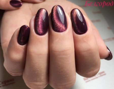 Маникюр кошачий глаз - фото стильного дизайна ногтей