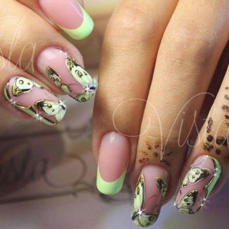 бабочки на ногтях френч