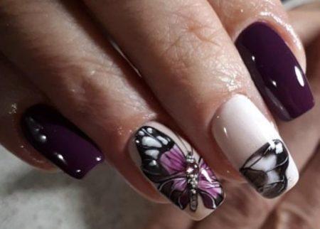 красивый маникюр с бабочками фото
