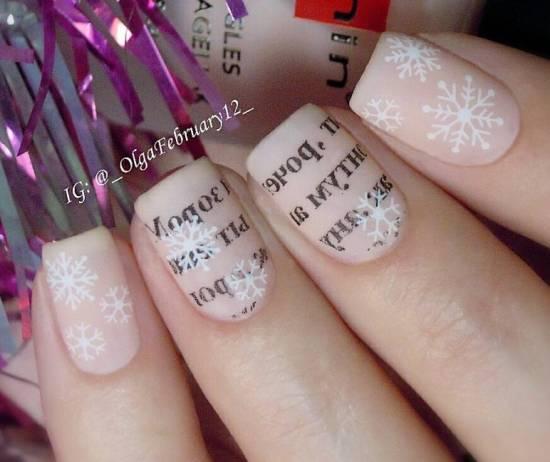 Зимний дизайн ногтей с буквами