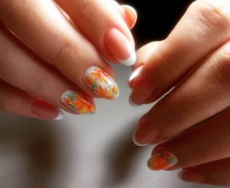 акварель на ногтях