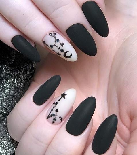матовые черные ногти