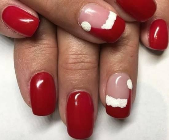красные новогодние ногти