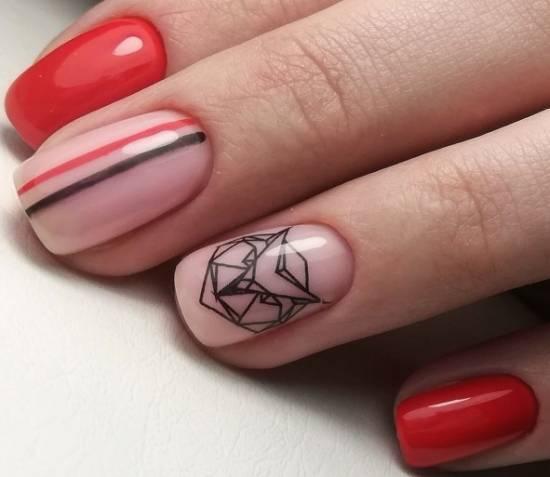 Красный дизайн на короткие ногти