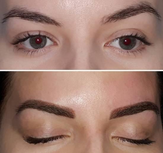 пудровые брови фото до и после процедуры