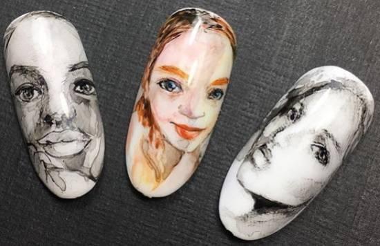 акварельный маникюр лица