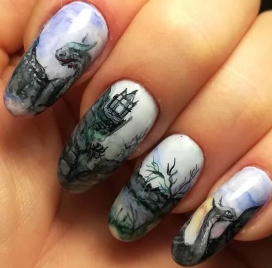 акварель на ногтях сказочные драконы