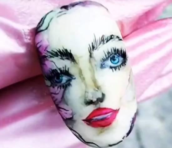 акварель на ногтях лицо девушки