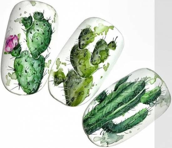 красивый акварельный маникюр кактусы