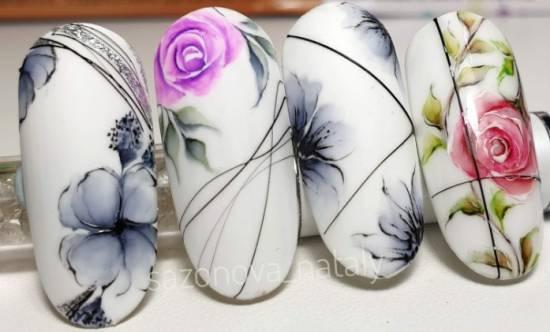 красивый акварельный маникюр варианты цветов