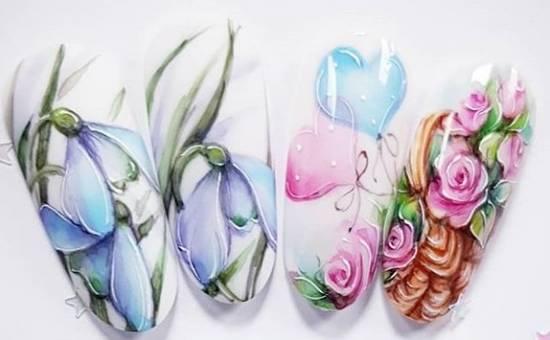 красивый акварельный маникюр рисунки цветов