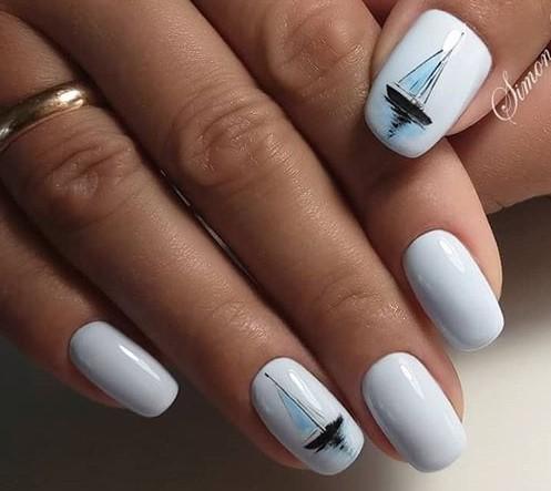 морской дизайн ногтей акварелью