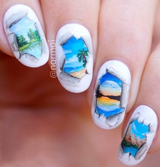 Какие рисунки можно сделать акварелью на ногтях: фото и этапы росписи