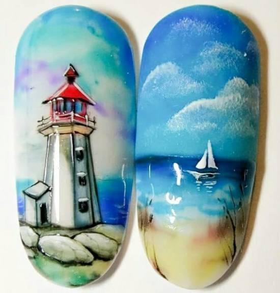 морской дизайн ногтей акварелью идеи