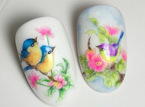 акварельный дизайн птички