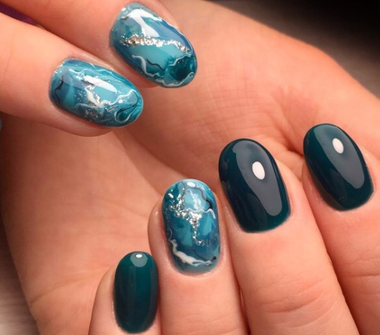 акварель на ногтях мрамор