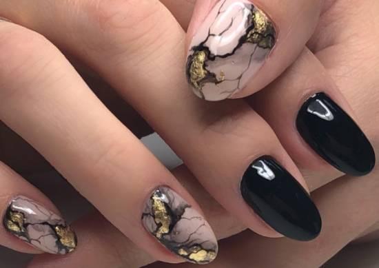 акварель на ногтях мрамор и золото