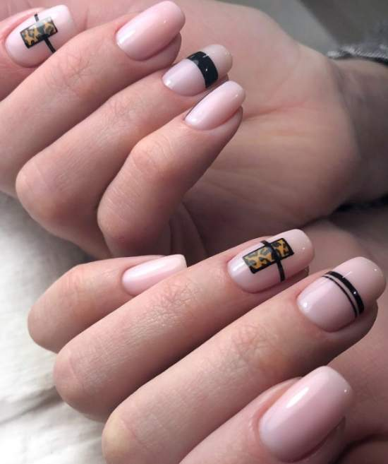 геометрия и леопард на ногтях