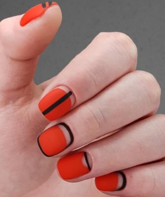 красный матовый дизайн ногтей