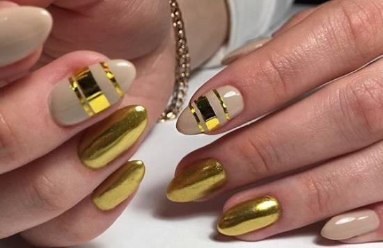 золотые полоски на ногтях