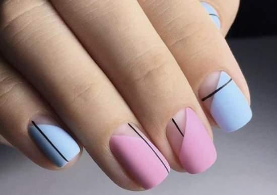 стильные полупрозрачные ногти и геометрия
