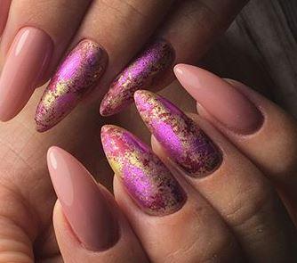 розовая и золотая фольга