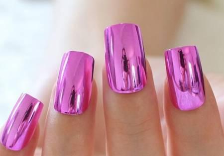 металлические ногти с пленкой