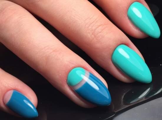 бирюзово-голубые нарощенные ногти
