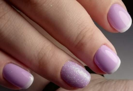 нежный розовый френч на короткие ногти