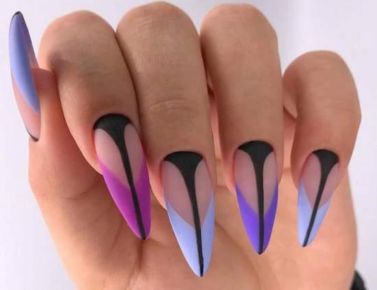 яркий френч на длинные ногти