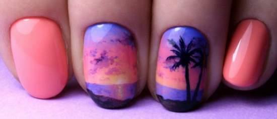 райский остров на ногтях