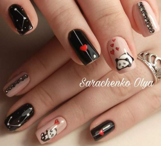 Панда на ногтях