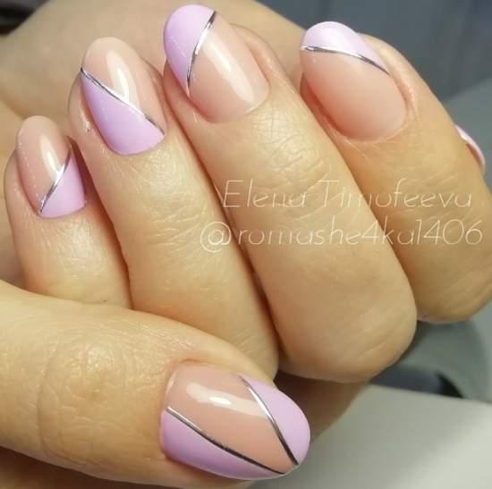 стильный розовый свадебный маникюр