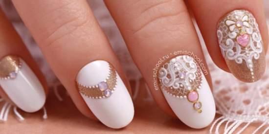 красивый свадебный дизайн ногтей - эми маникюр