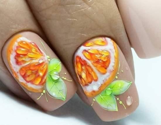 сочный апельсин на ногтях