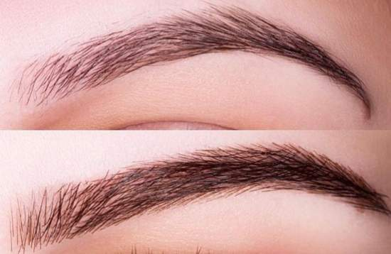 наращивание бровей фото до и после