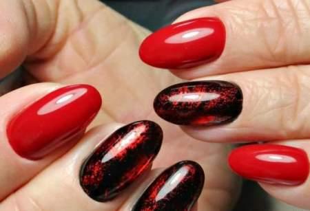Красно-черный дизайн: техники создания модного маникюра