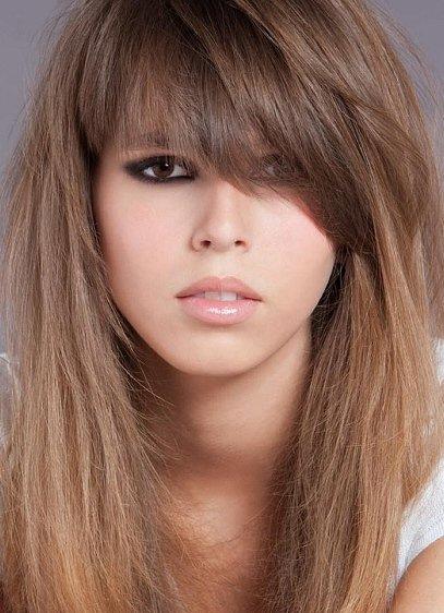 Асимметричная челка на длинные волосы